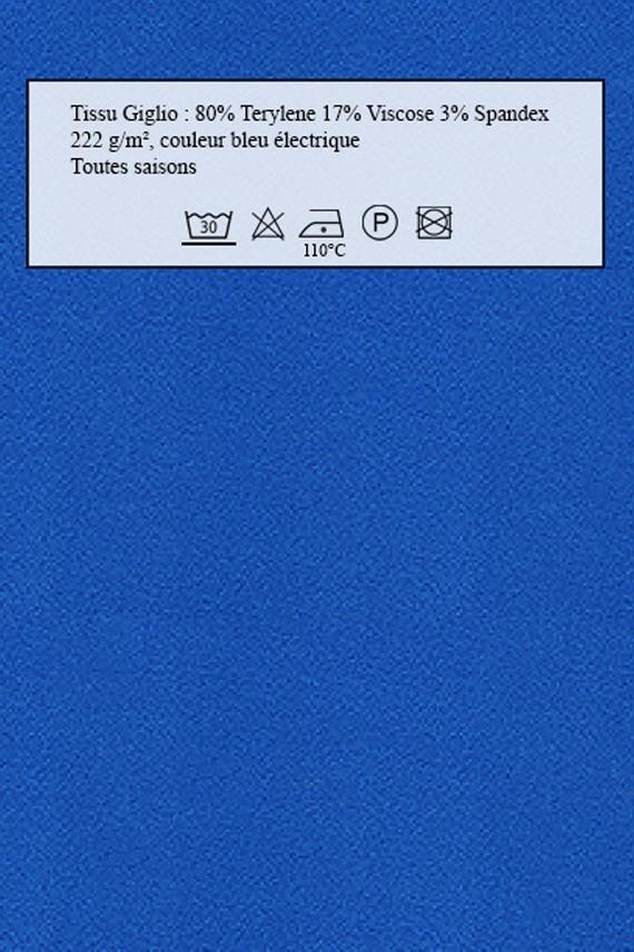 Echantillon de tissu amasos Giglio bleu électrique
