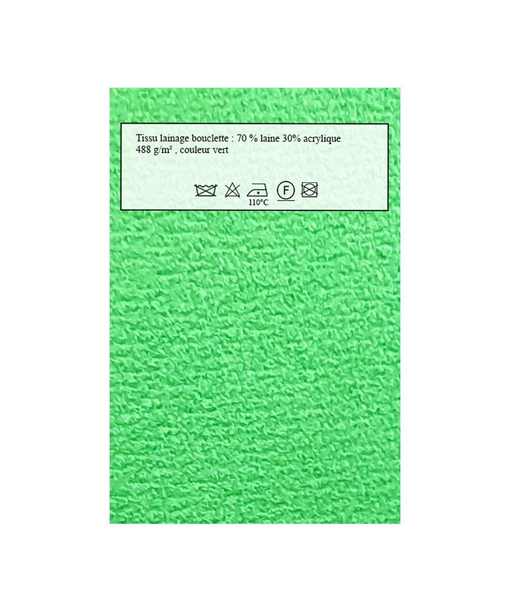 Echantillon de tissu de Lainage vert pour manteaux Amasos