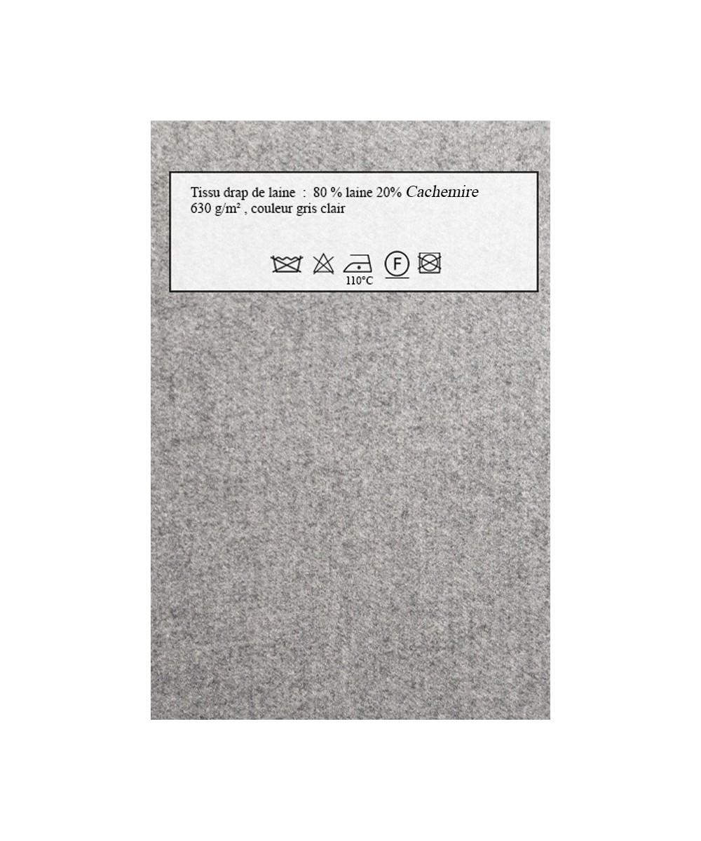 Echantillon de tissu Lainage gris perle pour manteaux personnalisés Amasos