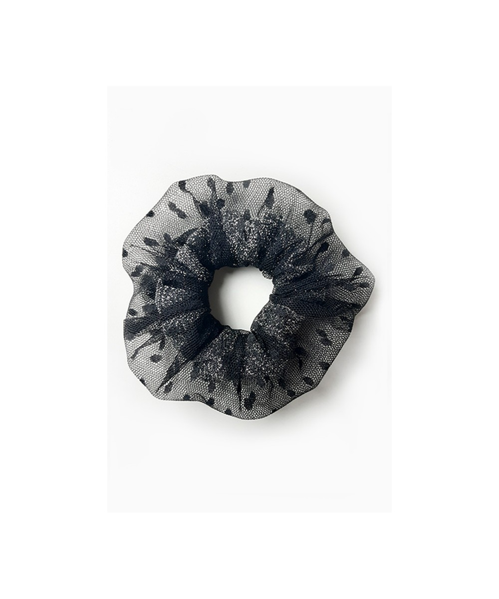 Chouchou cheveux en plumetis noir fait main Amasos