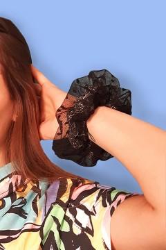 Chouchou plumetis noir pour cheveux, fabriqué en France à la main, personnalisable