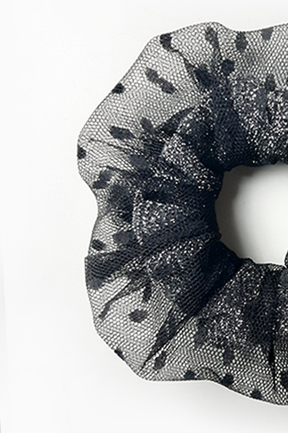 Scrunchie cheveux noir made in France personnalisé