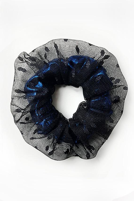scrunchie original noir en tulle  personnalisable amasos