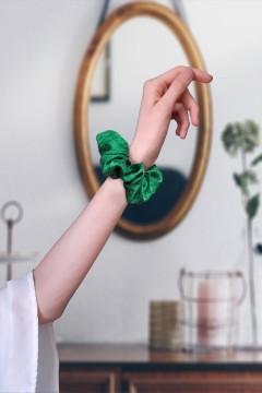 chouchou de luxe vert émeraude made in France et fait main amasos
