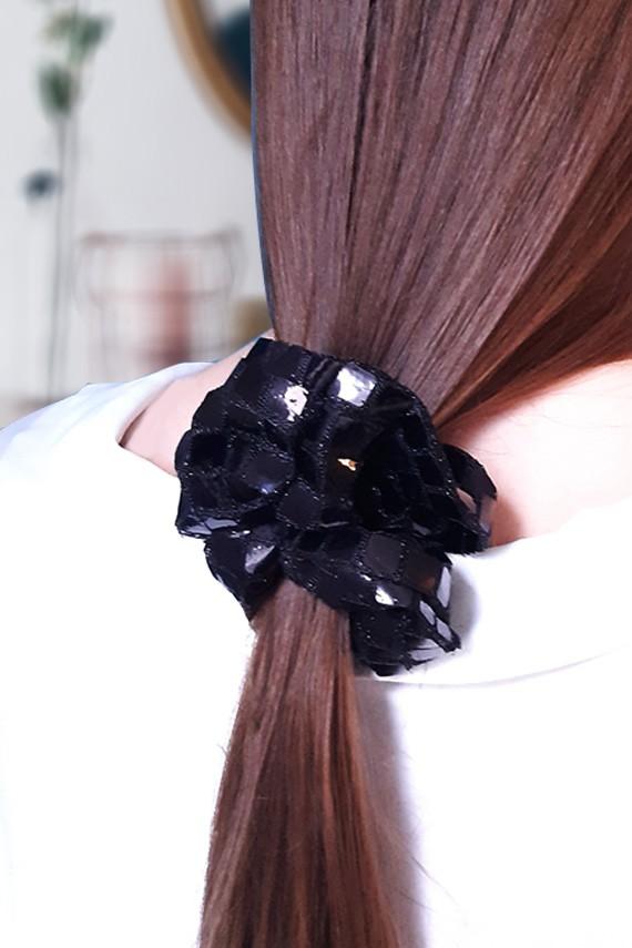 chouchou noir fabriqué en France fait main haut de gamme