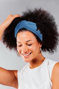 Bandeau cheveux denim made in France à personnaliser amasos