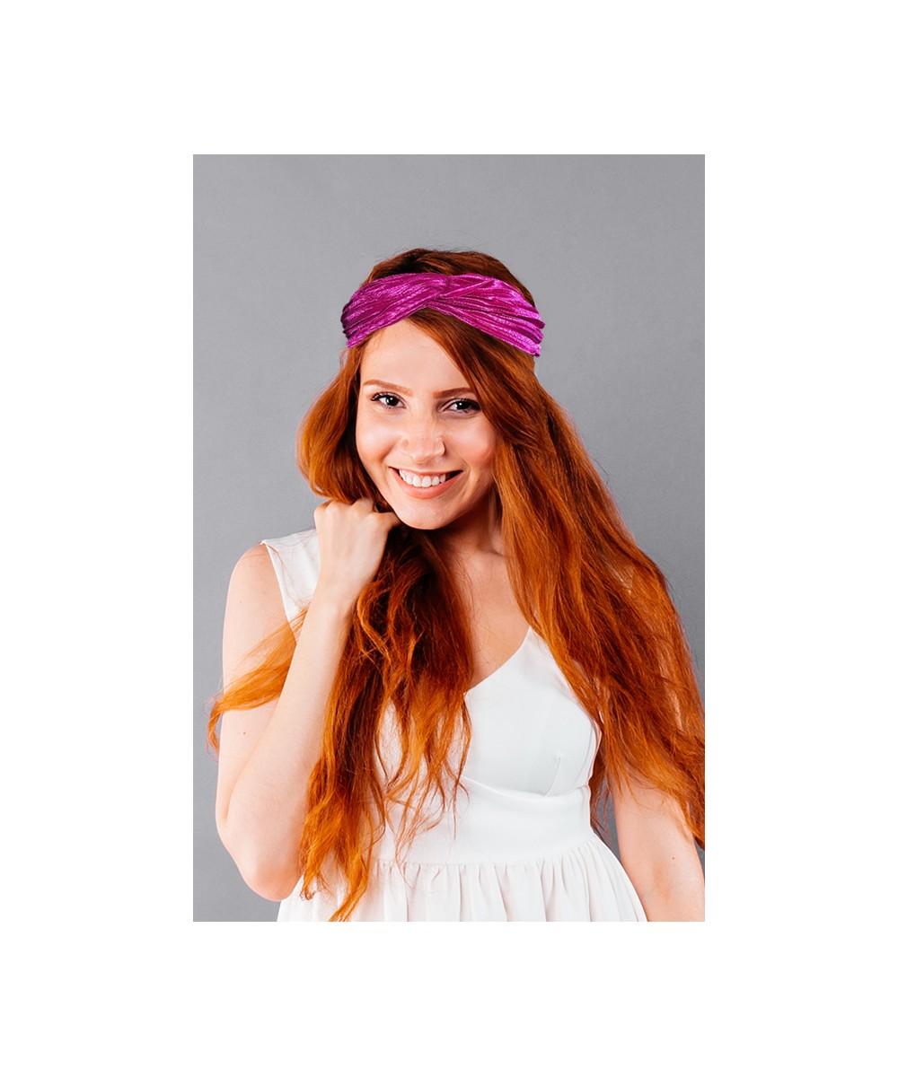 bandeau cheveux rose fuchsia plissé made in France porté
