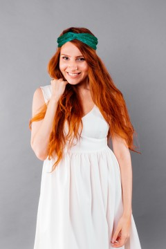 bandeau cheveux personnalisable vert émeraude haut de gamme porté