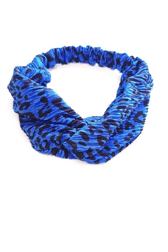 bandeau cheveux bleu léopard personnalisé made in France amasos