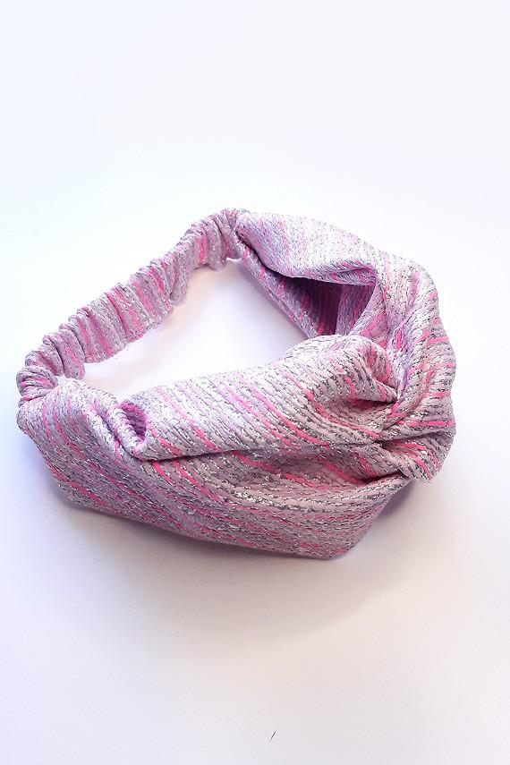 bandeau cheveux haut de gamme rose argenté fait main en France amasos